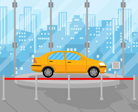 showroom: Exhibition Pavilion, showroom or dealership with yellow car, vector illustration in flat style.