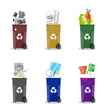segregation: Waste management. Waste segregation. Separation of waste on garbage cans. Sorting waste for recycling. Colored waste bins with trash. Metal, glass, e-waste, plastic, paper, organic. flat vector Illustration