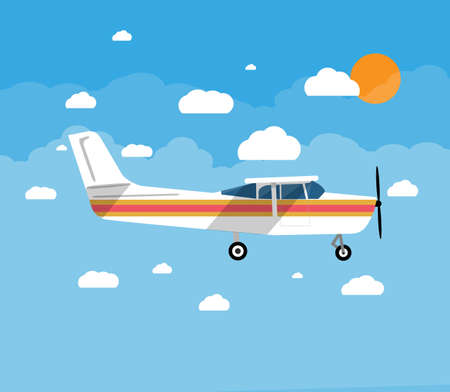 Small personal airplane in air with sky, clouds and sun. vector illustration in flat style