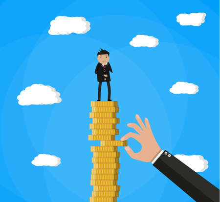 hand tries to pull coin out of coin stack with businessman. vector illustration in flat style Illustration