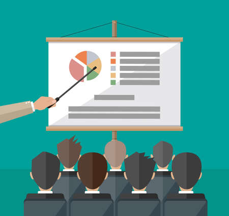 staff meeting: hand of teacher with pointer in front of screen with chart pie do presentation to other business people. Training staff, meeting, report, business school. vector illustration in flat style