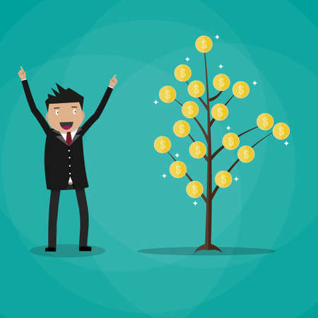 passive income: Happy businessman and money plant. Coin tree. growth and investment concept. vector illustration in flat style on green background