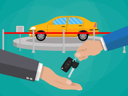 lease: hand gives car keys to another hand. buy, rental or lease a car. Exhibition Pavilion, showroom or dealership with yellow car, vector illustration in flat style.