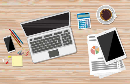 stocky: Business Workplace concept. Work desktop with laptop, financial documents, calculator, smartphone, tablet pc, coffee cup, pencils, sticky notes. vector illustration in Flat design.
