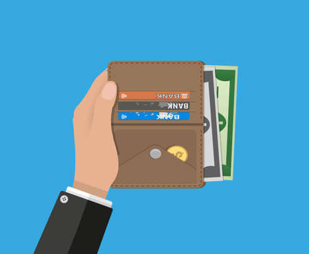 putting money in pocket: human hands and opened brown leather men wallet with credit cards and dollar cash. vector illustration in flat design on blue background
