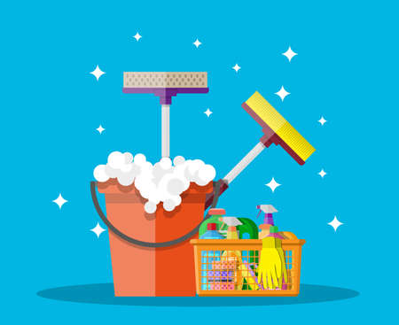 Cleaning set. household cleaning products and accessories in plastic basket. bucket with soap, rubber gloves, mop, detergent spay, sponge. vector illustration in flat design on blue