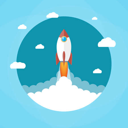 Space rocket launch. Rocket in the clouds. Start up concept. Vector illustration in flat style