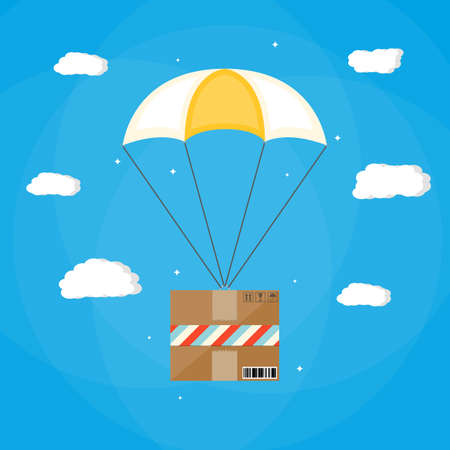 Delivery service, air shipping. Parachute with box. Package flying with parachute in the sky with clouds. vector illustration in flat style