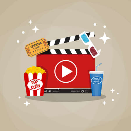 home cinema: Online home cinema concept. cinema clapperboard with running online video player, soda water in glass, popcorn and 3d stereo glasses, retro cinema ticket. vector illustration in flat style. Illustration