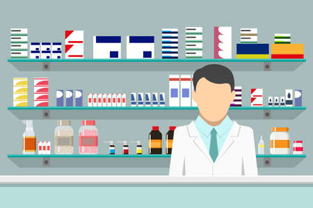 penicillin: Modern interior pharmacy or drugstore with male pharmacist at the counter. Medicine pills capsules bottles vitamins and tablets. vector illustration in flat style