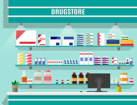Modern interior pharmacy or drugstore. Medicine pills capsules bottles vitamins and tablets. vector illustration in flat style Vector Illustration