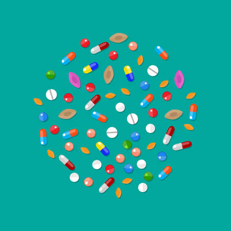 medications: Different colorful medical pills capsules and tablets in circle. Medications collection. vector illustration in flat style