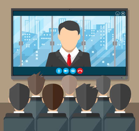 video call: Video conference concept. Room with chairs and crowd, big digital screen. Director communicates with staff . Online meeting, video call, webinar or training. Vector illustration in flat style
