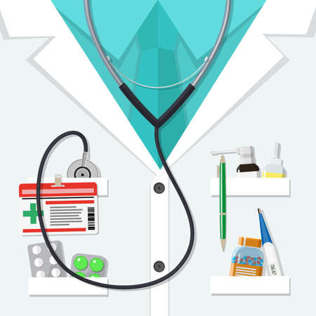 white doctors suit with different pills and medical devices in pockets. vector illustration in flat style Illustration
