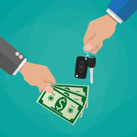 lease: hand gives car keys to another hand with money. buy, rental or lease a car. vector illustration in flat style