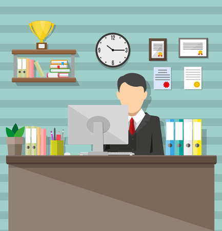 bussinesman: Modern office workspace. Bussinesman in chair, desk, monitor, clocks, trophydiploma.  illustration in flat style
