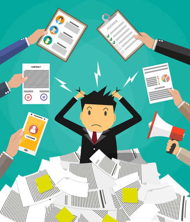 pile of documents: Stressed cartoon businessman in pile of office papers and documents tearing his hair out. Stress at work. Overworked. Vector illustration in flat design on green background. Illustration