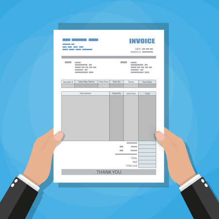 Hand holding invoice. unfill paper invoice form. tax. receipt. bill. vector illustration in flat style on blue background