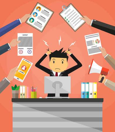 Stressato uomo d'affari cartone animato in mucchio di carta da ufficio e documenti strapparsi i capelli. posto di lavoro di ufficio con monitor del PC. Stress sul lavoro. Oberati di lavoro. Illustrazione vettoriale in design piatto