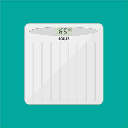 bathroom weight scale: Bathroom floor weight scale. vector illustration in flat style isolated on green