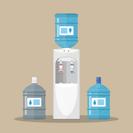 water cooler: Gray white plastic water cooler with blue full and empty bottles. vector illustration in flat design on brown background