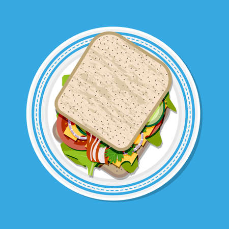 uncooked bacon: Sandwich on plate top view. toast bread, tomato, ham, salad and cheese. vector illustration in flat style on blue background