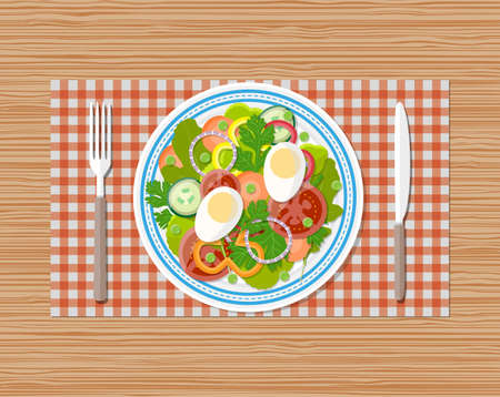 vegetable salad: fresh vegetable salad with egg on plate. fork and knife. vector illustration in flat style on wooden background