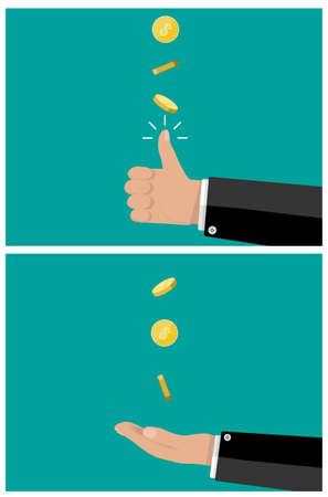 coin toss: hand of businessman tossing and catches a coin. vector illustration in flat style