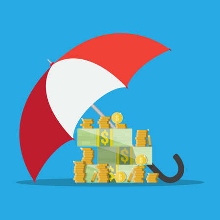 Umbrella to protect money. money protection, financial savings concpet.  illustration in flat style on blue background