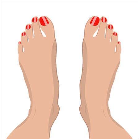 female feet with red pedicure. vector illustration in flat style om white Illustration