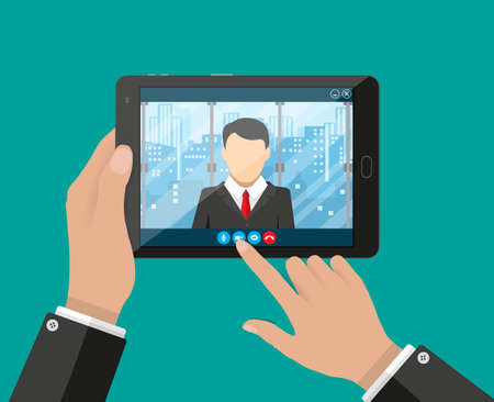 video call: Hands with tablet pc. Director communicates with staff . Online meeting, video call, webinar or training. Vector illustration in flat style Illustration