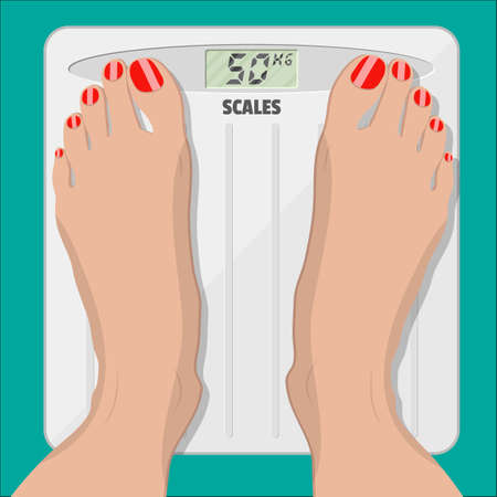 weighed: woman weighed on floor scales, electronic scales and female feet with red pedicure. vector illustration in flat style Illustration