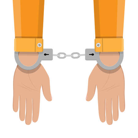 iron fun: human hands in silver handcuffs. vector illustration in flat design on white background Illustration