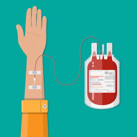 Bag with blood and hand of donor. Blood donation day concept. Human donates blood. Vector illustration in flat style. Illustration