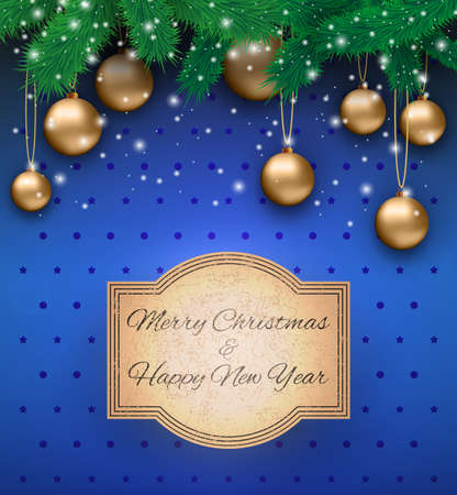desember: Christmas card with gold glass balls, snowflakes, fur branches at blue background with dots and stars and sign in grunge style, Vector illustration, template for greeting card.