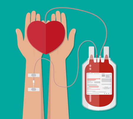 blood bag and hand of donor with heart. Blood donation day concept. Human donates blood. Vector illustration in flat style.