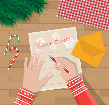 candycane: Child Hand with pen Writing letter to santa claus. wooden desk with candycane, envelope and fur branches. wishes on christmas and new year eve. vector illustration