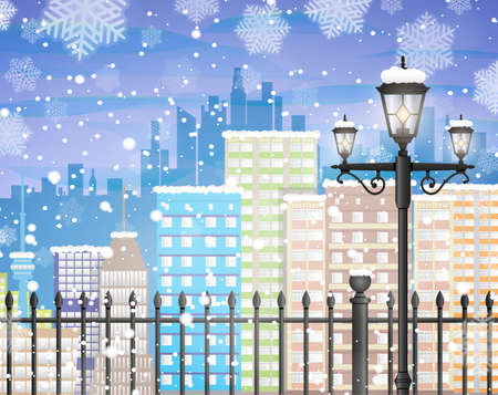 snow scape: Winter background with city scape silhouette, iron fence, street lamp, snow and snowflakes, template for greeting or postal card new year, vector illustration Illustration