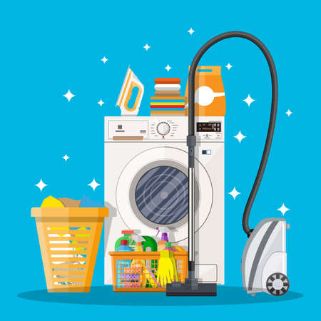 kitchen cleaning: Cleaning set. washing machine, sponge, bucket, cleaning products in bottle for floor and glass, rubber gloves, vacuum cleaner. vector illustration in flat design on blue background