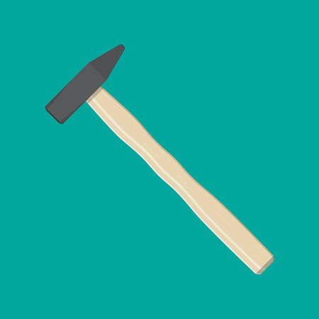 claw hammer: Carpenter hammer. Hammer tool with wooden handle. vector illustration in flat style