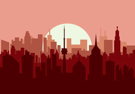 residental: City skyline silhouette at sunset. skyscappers, towers, office and residental buildings. vector illustration