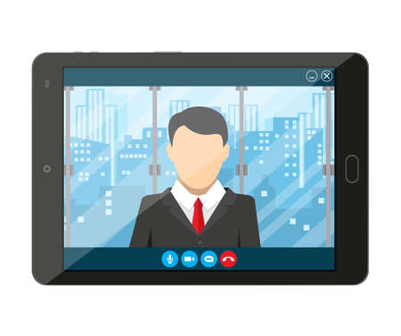 communicates: Tablet pc with internet conference app. Director communicates with staff . Online meeting, video call, webinar or training. Vector illustration in flat style