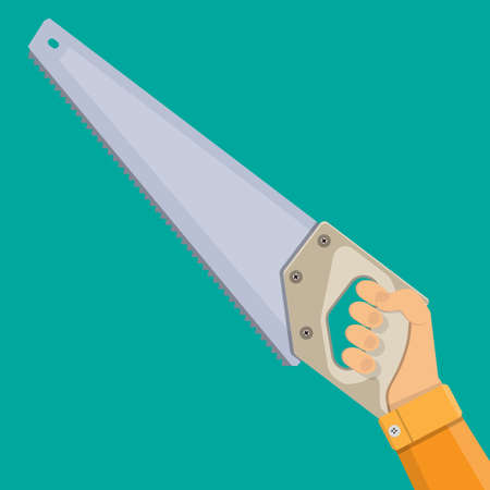 hardened: Hand and saw with hardened teeth. vector illustration in flat style Illustration