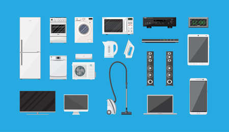 climatic: Household Appliances and Electronic Devices set on blue background. vector illustration in flat style Illustration