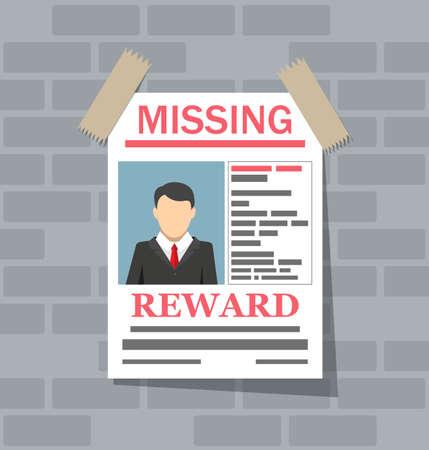 Wanted man paper poster. Missing announce on brick wall. vector illustration in flat style
