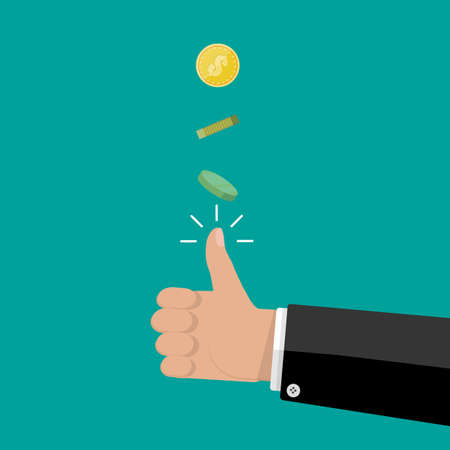 tossing: hand of businessman tossing a coin. vector illustration in flat style