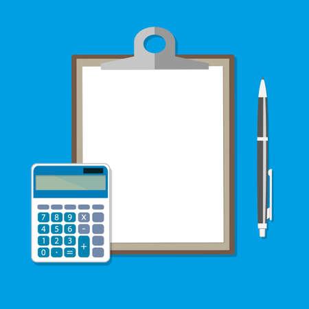 Zwischenablage mit leeren Blatt, Taschenrechner und Stift. Berechnungskonzept. Vektor-Illustration im flachen Design Standard-Bild - 67127640