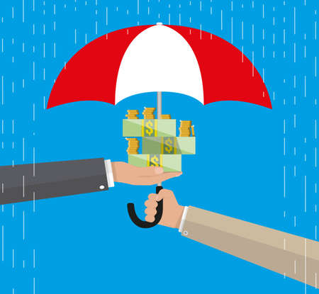 Umbrella to protect money. money protection, financial savings concpet. vector illustration in flat style on blue background Illustration