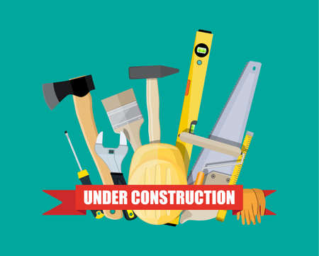 construction and building equipment. saw ax helmet level painter brush hammer wrench screwdriver. vector illustration in flat style