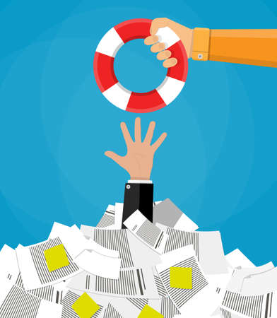 pile of documents: Stressed cartoon businessman in pile of office papers and documents getting lifebuoy. Stress at work. Overworked. Vector illustration in flat design